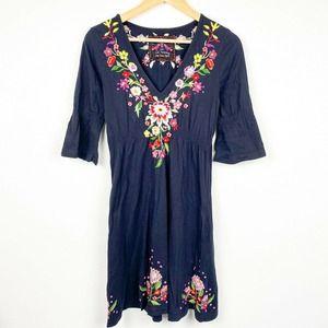 Johnny Was black floral embroidered dress